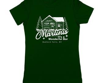 Martini's Wonderful Bar Christmas Holidays Xmas Life Funny Bedford Falls Women's Jr Fit T-Shirt DT2112