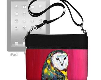 CLEARANCE Clara Nilles Owl  ipad case, ipad air 2 case, ipad air case, Crossbody Bag, Shoulder Bag Purse, zipper pocket,  red blue RTS