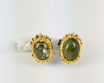 925 silver handmade green sapphire earrings