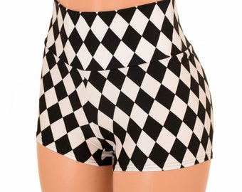Black & White Diamond Print High Waist Shorts Festival Rave Hoop Dance Performance Shorts 153928