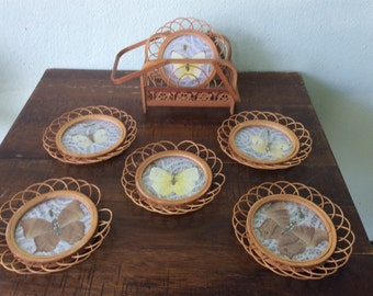 Bamboo and butterfly coasters and caddie, pressed butterflies with delicate designs of bamboo in a caddie with handles, set of six
