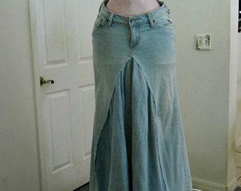 Seven for All Mankind  ballroom jean skirt vintage Renaissance Denim Couture fairy goddess mermaid belle bohémienne
