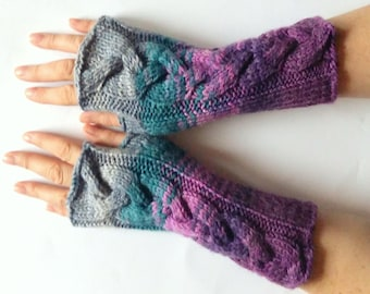 Fingerless Gloves wrist warmers Violet Purple Blue Burgundy Gray Green knit
