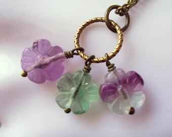 Flower necklace, natural fluorite cluster bouquet necklace, rainbow fluorite, vintage style, romantic, antiqued brass, long chain necklace