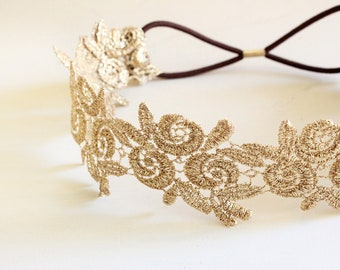 Metallic Gold Flower Lace Elastic Headband, Gold Elastic Headband, Bridal Headband, Bridesmaid Headband