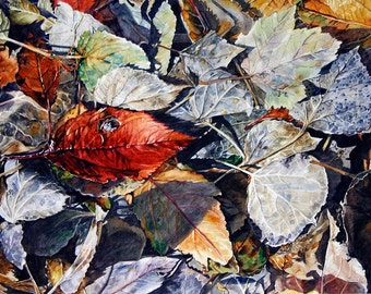 Leaves Watercolor Print- Photo Realistic- 8x10- Red, Grey, Blue- Fine Art- Watercolour- Hidden Treasure