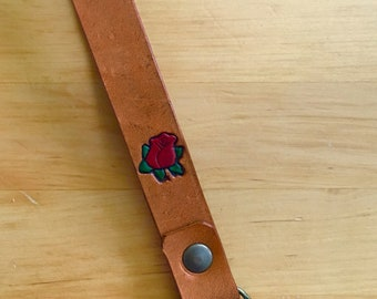 Leather Key Wristlet Rose Keychain Lanyard Key Fob Mothers Day Gift for Mom Red Rose Santa Fe Brown-Love That Leather