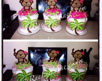 Girl Monkey Diaper Cake Minis/baby Girl Monkey baby shower or birthday centerpieces/boy monkey baby shower