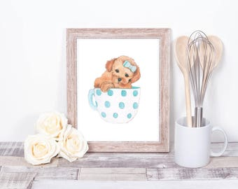 A3 Large teacup puppy print art child cute blue gift daughter niece