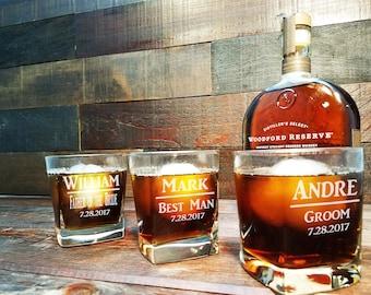 Square Whiskey Glasses, Groomsmen Gifts, Whiskey Glasses Personalized, Custom Engraved Rocks Glass, Scotch Glass, Groomsman Gift Set