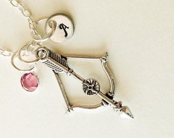Archery necklace, personalized archery jewelry, arrow and bow necklace arrow jewelry Christmas archer gift archery jewelry for archery mom