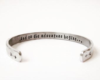 And so the adventure begins - Personalized graduation gift for her - Class of 2018 - Best graduation gift - Secret message bracelet