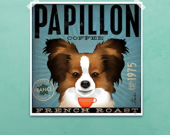 Papillon French Roast Coffee Company original graphic illustration signed giclee archival artists print by Stephen Fowler