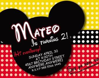 mickey mouse  invitation english or spanish  invitation birthday invitation  heavy cardstock or digital
