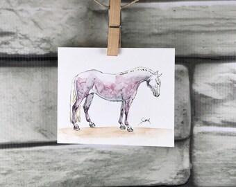 "Horse art original ink & watercolor - ""Dapple Gray"" mini painting"