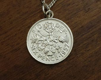 1957 Sixpence - Silver Plated Coin Necklace