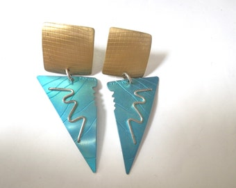 Geometric Earrings Vintage 80s Anodized Aluminum Avant Garde david badman