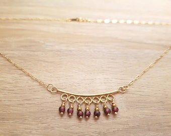 """""""Precious beads"""" necklace - Garnet, Hematite and gold - strength, courage, and toning."""