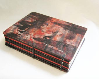 Small Journal, Dark Quote Book, Small notebook, small book, book with bag, handmade journal, dark abstract, painted paper book