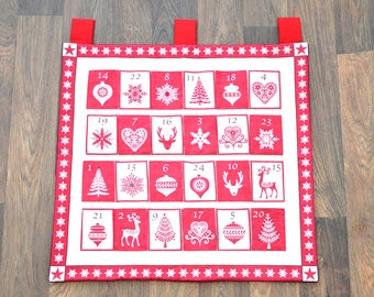 Fabric Advent Calendar, Red and White Scandi Style Calendar with Pockets, Heirloom Decoration, Hanging Christmas Countdown Advent Gift