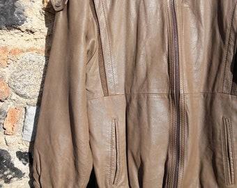 Leather jacket camel vintage