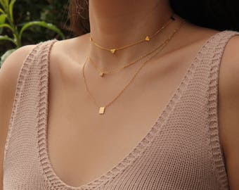Tiny Square With Stone Necklace - M1502
