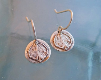 Handcrafted Tiny Silver Aspen Leaf Earrings