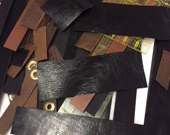 Long Leather Pieces Scrap Cuffs