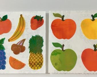 Vintage Sandylion Pearl Fruit Stickers. Apples, Bananas, Grapes,Pineapple