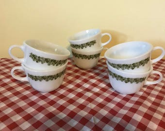 Set of Six Pyrex Coffee Cups