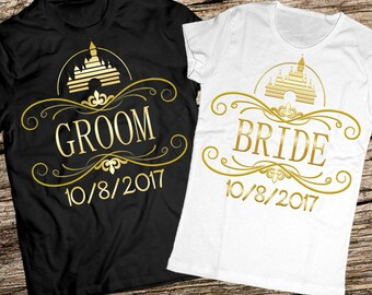 Disney honeymoon shirts, Bride and groom shirts, Bride tribe shirts, Bridal party shirts, Honeymoon shirts, Just married shirts, Disney set