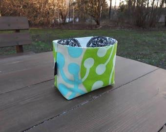 Green small fabric basket organizer made from Marimekko fabric Kirsikka, Baby room decor, Storage bin container, Scandinavian design