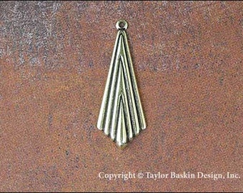 Antiqued Polished Brass Art Deco Jewelry Earring or Pendant Jewelry Drop (item 1146 AG) - 6 Pieces