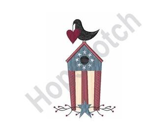 Patriotic Birdhouse - Machine Embroidery Design, Patriotic, Birdhouse, Bird