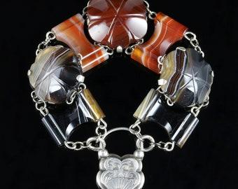 Antique Victorian Scottish Bracelet Silver Padlock Circa 1860