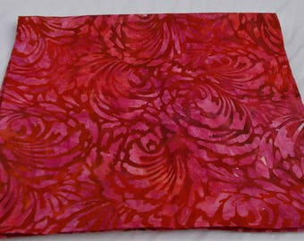 BEAUTIFUL RED with Pink FLORAL Batik Premium Cotton Womens Full 23'' Square Bandana