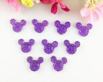 Cabochon shaped purple rhinestones (x 6) mouse head