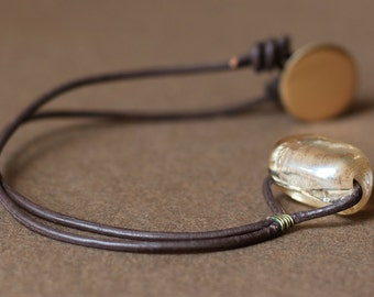Gold Glass and Brown Leather Necklace