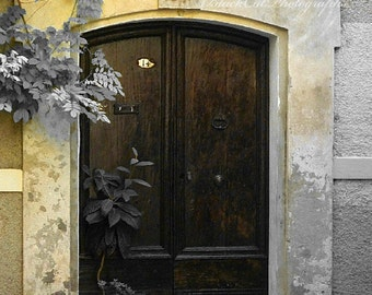 Bathroom Wall Art, Old Wooden Door Photo, Vintage Weathered French Chocolate Brown bath print Pastel Yellow Grey 5X7 France Art Photograph
