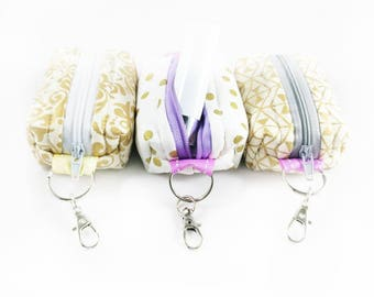 WHITE AND GOLD Keychain Tiny Pouch | Mini Zipper Pouch | Coin Purse | Boxed Pouch | On-the-go Pouch
