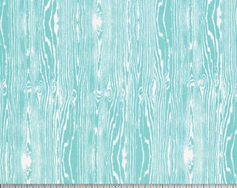 HALF YARD - Joel Dewberry Fabric, Woodgrain Aqua, True Colors, cotton quilting fabric -  SALE