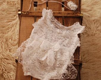 RTS .baby romper, newborn lace, lace romper, new romper, photography prop lace, newborn girl, photography prop