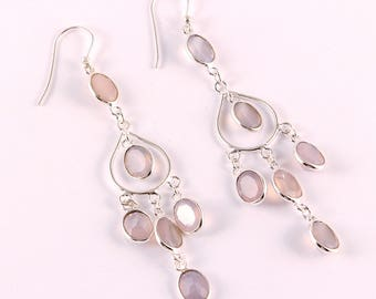 Pink chalce 92.5 sterling silver earring