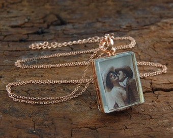Locket, Rose Gold Locket, Locket Pendant, Rose Gold Necklace, Memory Locket, Antique Locket, Photo Locket, Rectangle Locket, Picture Locket