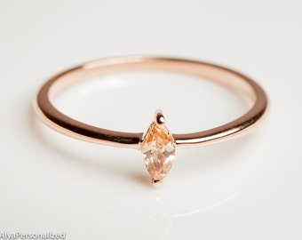 Simple Gold Ring - Thin Rose Gold Ring - Citrine Jewelry - Citrine Ring - Thin Minimalist Ring - Simple Ring - Delicate Ring