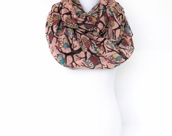 Pink Scarf, Owl Pink Infinity Scarf, Pink Viscose Scarf, Spring Summer Scarf, Circle Scarf, Loop Boho Scarf, Fashion Scarf, Gifts For Her