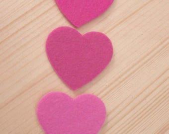 set of 3 hearts felt #4
