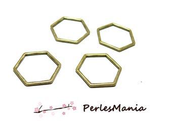 4 pendants connector HEXAGON, HEXAGONAL 23 by 20mm BRONZE (S1185819)