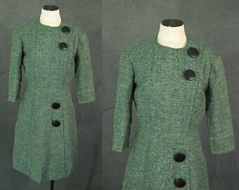 Vintage 60er Jahre Wiggle Kleid - 1960er Jahre Emerald Green Tweed Wolle Wiggle Kleid Sz M