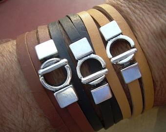 Leather Bracelet, Triple Wrap, Interlocking Clasp, Mens Bracelet, Womens Bracelet, Mens Jewelry, Womens Jewelry, Wrap Bracelet, Bracelet